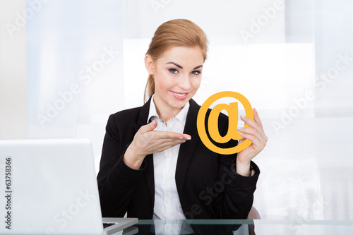 Businesswoman Holding Email Sign