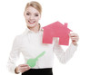 Business woman real estate agent holding red paper house key