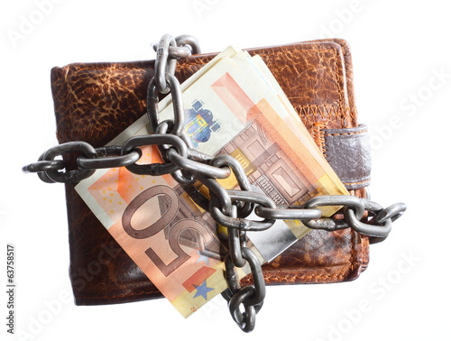 End of personal spending.  Wallet euro banknote in chain