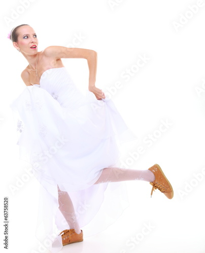 Wedding day. running bride isolated on white background