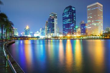 Bangkok city downtown at night , Bangkok, Thailand