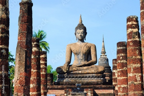 Ancient Buddha image in the historical park, Thailand