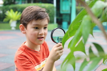 boy magnifying glass exploring garden