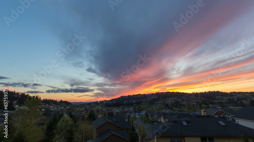 Happy Valley Oregon Suburban Homes at Sunset Time Lapse