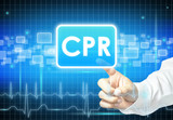Hand touching CPR sign on virtual screen poster