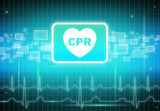CPR sign on virtual screen poster