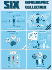 SIX INFOGRAPHIC COLLECTION BLUE