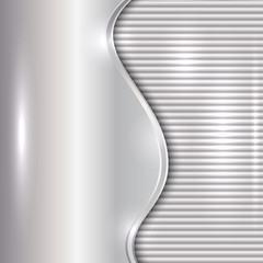 Vector abstract silver background with curve and stripes