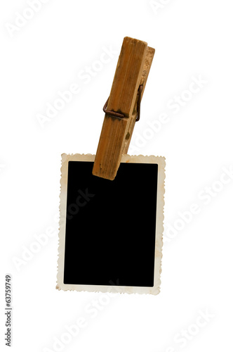 Hanging aged photo frame on white background