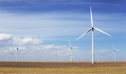 Giant wind turbines in open prairies, Colorado