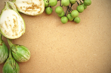 Green tomatoes with blank space for text
