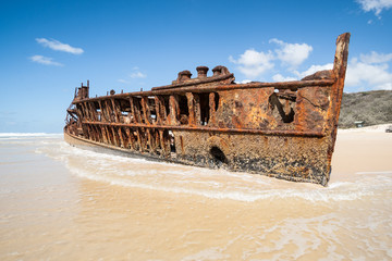 rusting wreck of the Maheno at Fraser Island.
