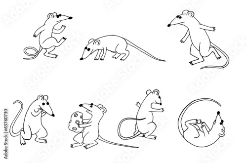 Cartoon mouse set two