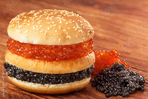 Burger with caviar
