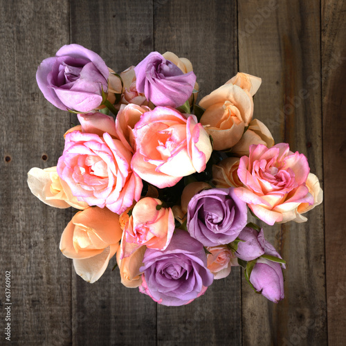 Top view of colorful roses bouquet.