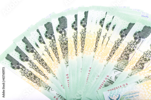 Thai money 20 baht isolated on white background