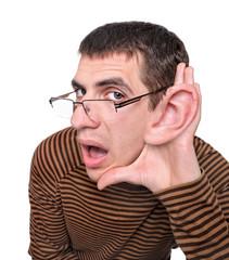 Man listening with big ear.