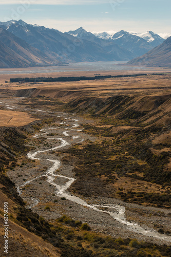 aerial view of glacial stream in Southern Alps, New Zealand