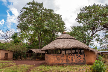 Painted houses in Omo NP