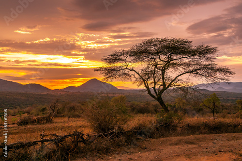 In de dag Afrika Evening view of the territory of the tribe Bana