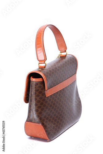 Woman leather handbag isolated white background