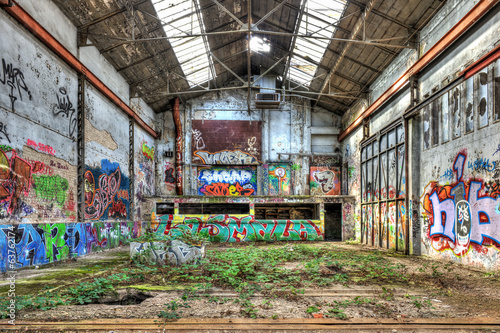 Interior of a derelict industrial building