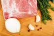 Raw fresh meat on board