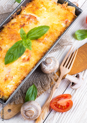 Greek moussaka with mushrooms and tomatoes