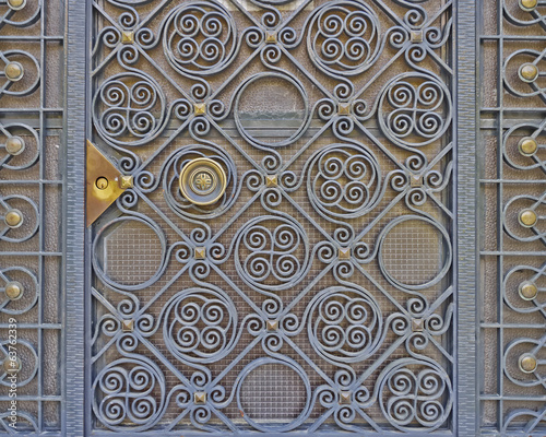 vintage house forged door detail, Athens Greece