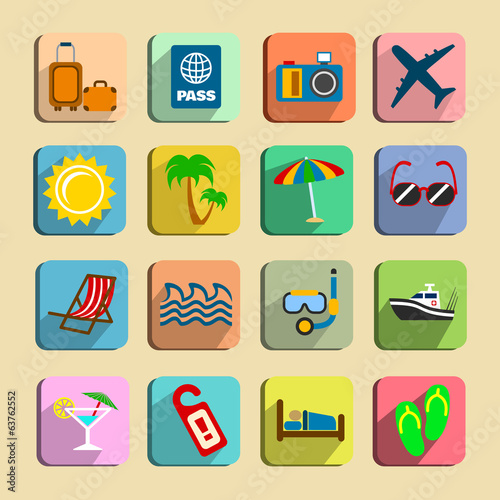 Global tourism icons set