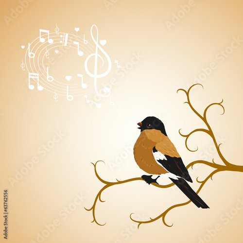 Winter bullfinch bird tweets on a tree branch