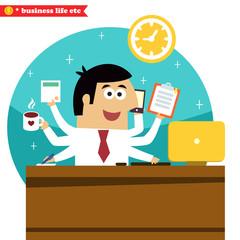 Multitasking and multipurpose businessman