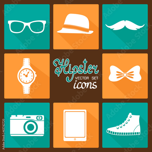 Hipster accessories pictograms set
