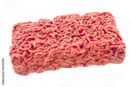 Raw ground beef. isolated on white