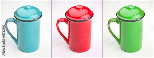 red, green and blue cup of Coffee set