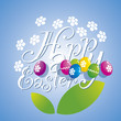 Easter white flower color eggs blue background