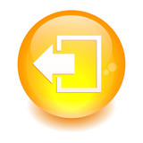 Button output disconnect Internet icon orange poster