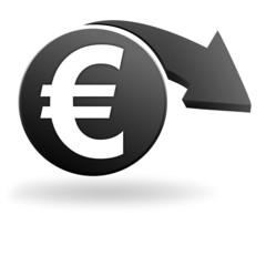 euro sur symbole noir