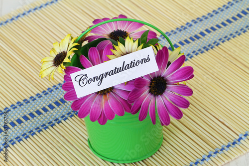 Congratulations card with colorful daisy flowers