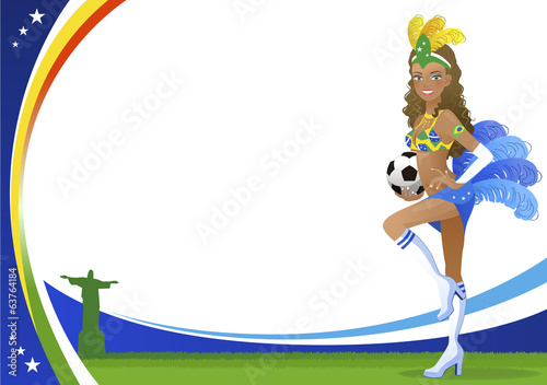 ブラジル サッカー 女性 Brazilian dancer  and Christ the Redeemer