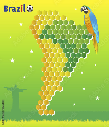 ブラジル 背景 Brazil concept-macaw and map of  Latin America