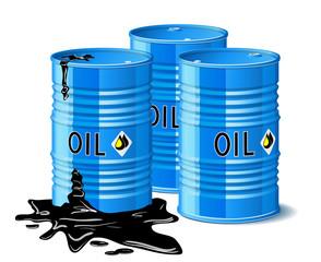 Three metal barrels with oil.