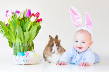 Adorable funny baby boy with rabbit ears with a real bunny