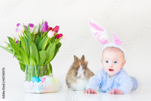Adorable funny baby boy with bunny ears playing with real rabbit