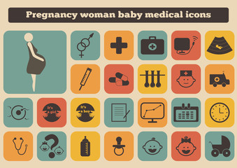 set of medical woman pregnancy baby icons