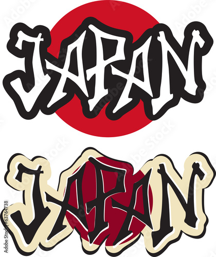 Japan word graffiti different style. Vector