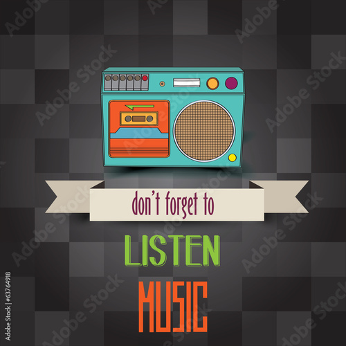 "poster with retro boom-box and message""don't forget to listen mu"