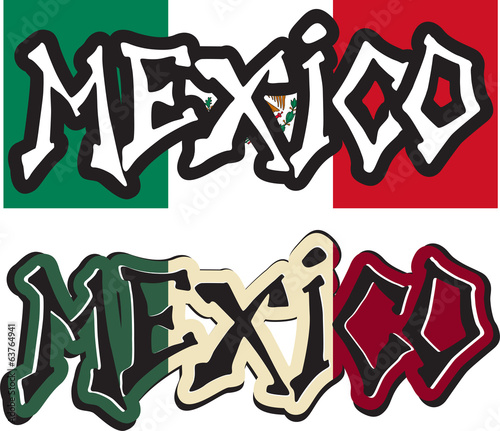 Mexico word graffiti different style. Vector
