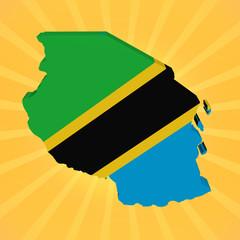 Tanzania map flag on sunburst illustration