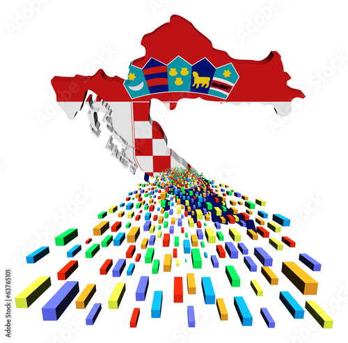 Croatia map flag with containers illustration